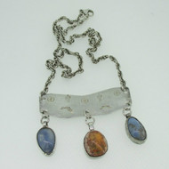 Sterling Silver Stamped Southwest Style Necklace with Dangle Gemstones