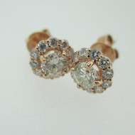 14k Rose Gold .51ct Round Brilliant Cut Diamond Stud Earrings with Halo Accent