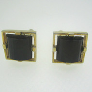 Gold Tone Black Stone Cufflinks