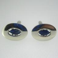 Silver Tone Blue White Stone Cufflinks