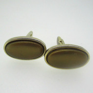Gold Tone Brown Stone Cufflinks