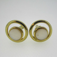 Gold Tone Swank Mother of Pearl Circle Cufflinks