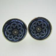 Silver Tone Blue Fabric Cufflinks