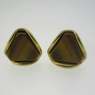 Gold Tone Brown Tiger Eye Cufflinks