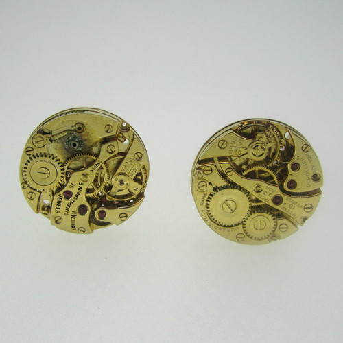 Gold Tone Steam Punk Gear Cufflinks