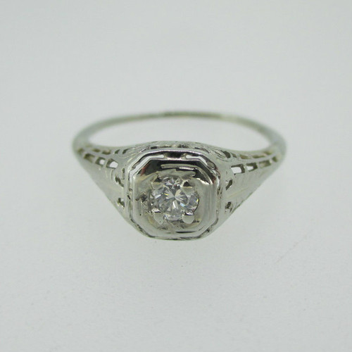 Vintage 18k White Gold Diamond Ring with Filigree Accents Size 6