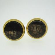 Gold Tone Black Web Sarah Coventry Cufflinks