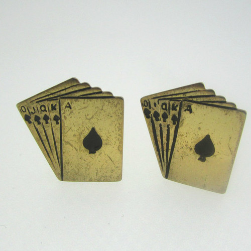 Gold Tone Royal Flush Cufflinks