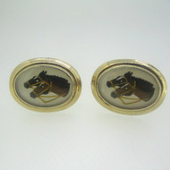 Gold Tone Enamel Horse Head Cufflinks