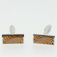 Silver Tone Amber Stone Wave Cufflinks