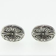 Silver Tone Cross Detail Cufflinks