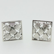 Silver Tone Swank Square Grid Patch Design Cufflinks