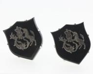 Silver Tone Battle Shield Black Onyx Cufflinks