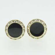 Gold Tone Black Center Stone Cubic Zirconia Accent Cufflinks