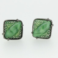 Silver Tone Green Swirl Cufflinks