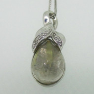 Sterling Silver Rutilated Quartz with Diamond Accents Necklace