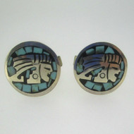 Sterling Silver Turquoise Inlay South West Cufflinks