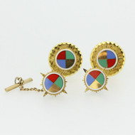 Gold Tone Multi Stone Cufflink Tie Pin Set
