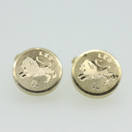 Gold Tone Destino Leo Lion Cufflinks