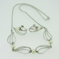 Sterling Silver Van Dell Necklace & Screw Back Pearl Earring Set