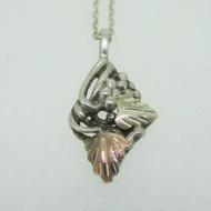 Sterling Silver & Black Hills Gold Leaf Pendant Necklace