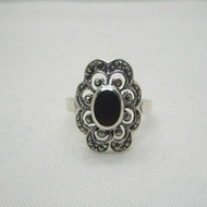 Sterling Silver Marcasite Detailed Statement Ring Size 8 1/4