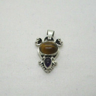 Sterling Silver Tigers Eye Amethyst Southwest Style Charm Pendant