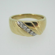 14k Yellow Gold Approx .25ct TW Round Brilliant Cut Diamond Men's Ring Size 10 3/4