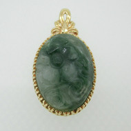 14k Yellow Gold Carved Flower in Jade Pendant