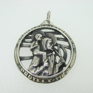 Sterling Silver Catholic Religious Medal St. Christopher Pendant