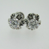 14k White Gold Approx .50ct TW Round Brilliant Cut Diamond Stud Screw Back Earrings