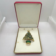 Gold Tone Green Enameled Christmas Tree Brooch w 5 Pairs Removable Stud Earrings