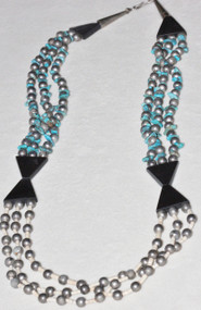 Triple Strand Native American Turquoise & Burnished Silver Tone Beads