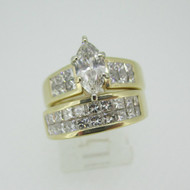 14k Yellow Gold Approx .75ct Marquise Cut Diamond Ring with Wedding Band Size 6