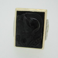 10k Yellow Gold Black Onyx Intaglio Ring Size 10 1/2