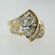 14k Yellow Gold Approx .50ct Marquise Cut Diamond Ring Size 6