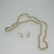 14k Yellow Gold and White Gold Honora Necklace and  Earring Set