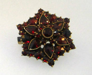 Victorian Red Bohemian Garnet Round Cluster Brooch Pin - Circa Late 1800's