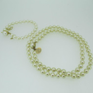 10k Yellow Gold Created Pearl Necklace and Bracelet Set