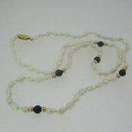 14k Yellow Gold Freshwater Pearl Black Onyx Necklace