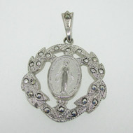 Sterling Silver Catholic Religious Miraculous Marcasite Mary Medal