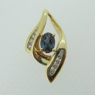 14k Yellow Gold Created Alexandrite Pendant with Diamond Accents