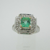 14k White Gold .97ct Emerald with .79ct TW Diamond Halo Accent Ring Size 6 3/4