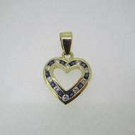 14k Yellow Gold Approx .25ct TW Diamond Sapphire Heart Pendant