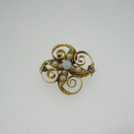 10k Yellow Gold Opal and Pearl Swirl Pin Brooch