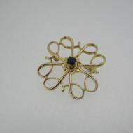 10k Yellow Gold Avon Sapphire Pin Brooch