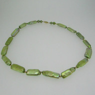 14k Yellow Gold Green Dyed Freshwater Pearl Necklace