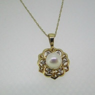 10k Yellow Gold Pearl with Diamond Accent Necklace