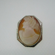 14k Yellow Gold Cameo Diamond Accent Pin Pendant