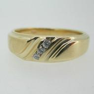 14k Yellow Gold Diamond Men's Ring Size 11 1/2